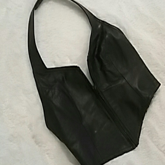 0243149c9e6 Genuine leather bustier halter